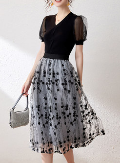 Puff Sleeve Pullover Top & Mesh Embroidered Midi Skirt