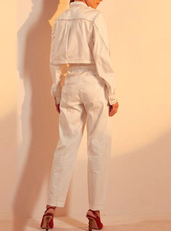 Long Sleeve Rivet Short Coat & High Waisted Slim Pants