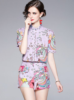Casual Mock Neck Print High Waisted Hot Pant Suits