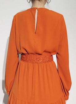 Boho V-neck High Waisted A Line Maxi Dress