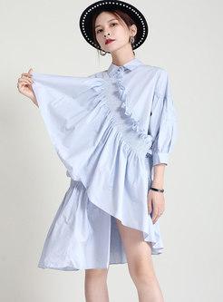 3/4 Sleeve Lettuce Patchwork Shirt Shift Dress