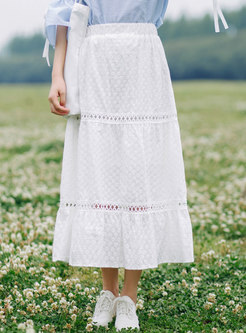 White High Waisted Openwork A Line Maxi Skirt