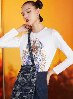 Crew Neck Long Sleeve Print Pullover T-shirt