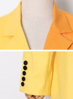 Color-blocked Lapel Long Sleeve Slim Blazer