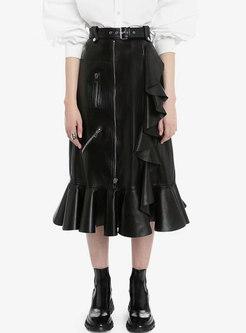 Black High Waisted PU Ruffle Peplum Skirt