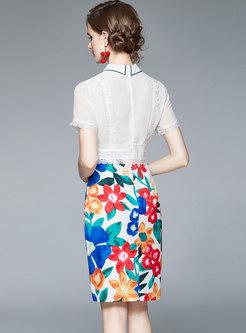 Turn-down Collar Print Patchwork Bodycon Dress