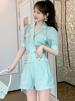 Casual Notched Collar High Waisted Hot Pant Suits
