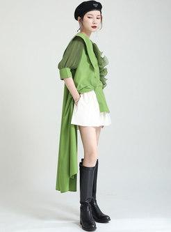 Ruffle Patchwork Puff Sleeve Asymmetric Shirt Dress
