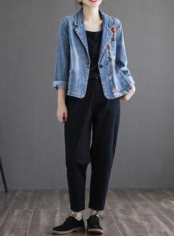 Notched Collar Embroidered Short Denim Jacket