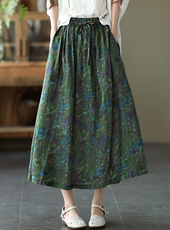Retro High Waisted Print A Line Maxi Skirt