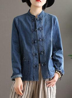 Mandarin Collar Embroidered Denim Jacket