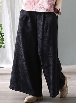 High Waisted Jacquard Wide Leg Pants