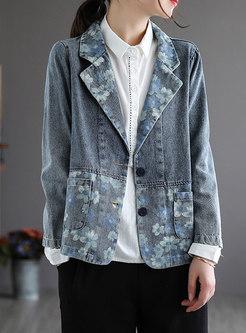 Work Notched Collar Printed Denim Jacket