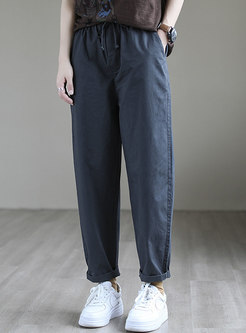 Casual High Waisted Drawstring Harem Pants