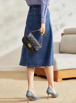High Waisted Big Hem Midi Denim Skirt