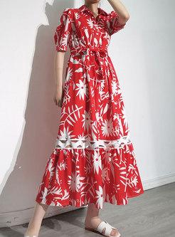Turn-down Collar Print Openwork Beach Maxi Dress