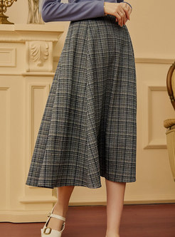 High Waisted A Line Big Hem Long Skirt
