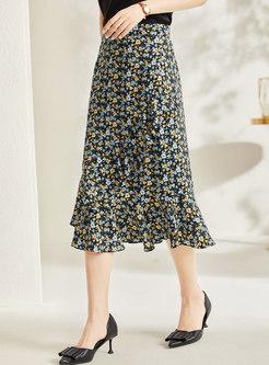 High Waisted Print Midi Peplum Skirt