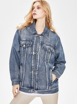 Long Sleeve Flap Pockets Straight Denim Jacket