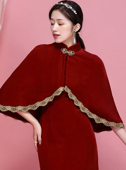 Retro Mandarin Collar Embroidered Patchwork Shawl
