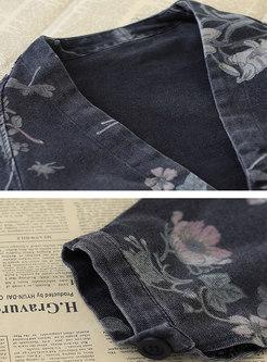 V-neck Print Long Sleeve Short Denim Jacket