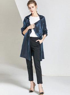Lapel Long Sleeve Gradient Trench Coat