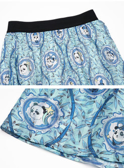Boho High Waisted Print Big Hem Maxi Skirt