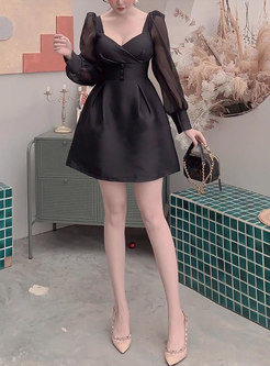 Black Sexy Square Neck Long Sleeve Cocktail Dress