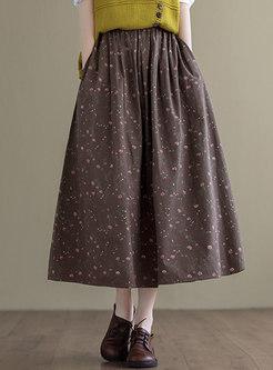 Retro High Waisted Print Plus Size Long Skirt