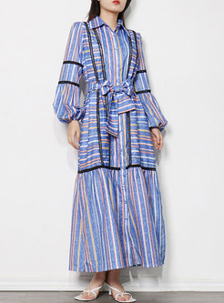 Turn-down Collar Lantern Sleeve Striped Maxi Dress