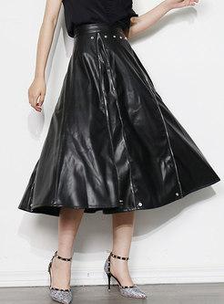 High Waisted PU A Line Maxi Skirt