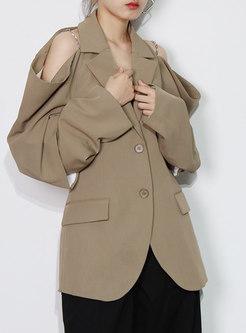Lapel Cold Shoulder Single-breasted Loose Blazer