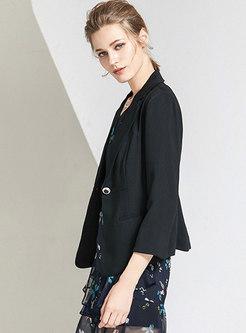 Work Notched Collar Long Sleeve Blazer