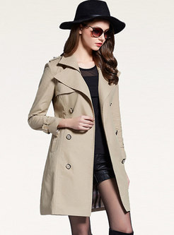 Casual Lapel Double-breasted A Line Trench Coat
