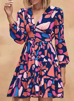 V-neck Lantern Sleeve Print A Line Mini Dress