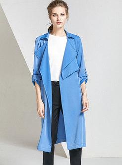 Blue Lapel Big Pockets Straight Long Trench Coat