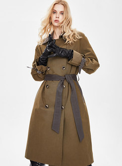 Color-blocked Lapel Double-breasted Trench Coat