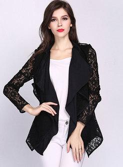 Black Lapel Lace Openwork Slim Coat