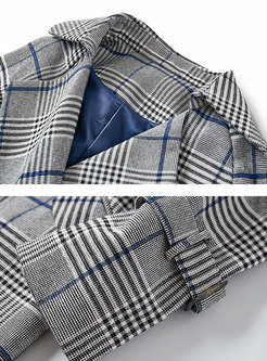 Lapel Plaid Double-breasted Knee-length Trench Coat