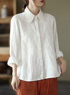 Turn-down Collar Embroidered Linen Blouse