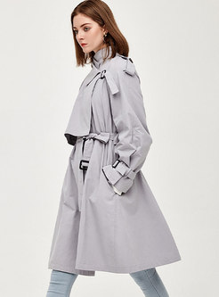 Lapel Patchwork A Line Knee-length Trench Coat