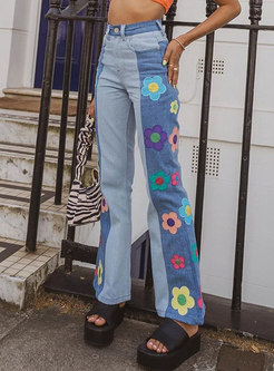 High Waisted Flowers Patch Flare Jeans
