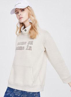 Casual Mock Neck Letter Print Loose Sweatshirt