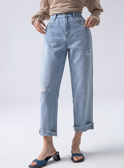 High Waisted Straight Ripped Jeans