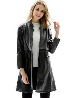 Mock Neck Color-blocked Patchwork PU Trench Coat