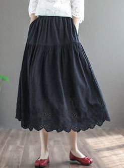 Retro High Waisted Openwork Maxi Skirt