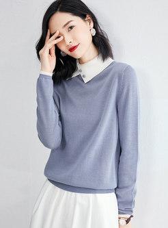 Color-blocked Turtleneck Pullover Slim Sweater