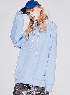Casual Solid Drawstring Pullover Loose Hoodie