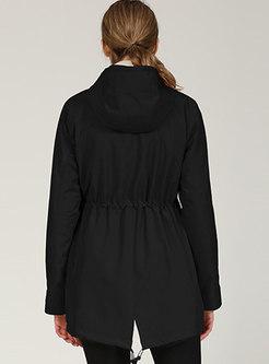 Black Hooded Drawstring Windbreaker