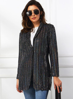 Notched Collar Long Sleeve Sequin Blazer